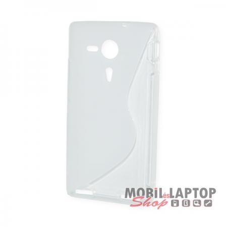Szilikon tok Sony M35 / C5302 / C5303 Xperia SP fehér / átlátszó