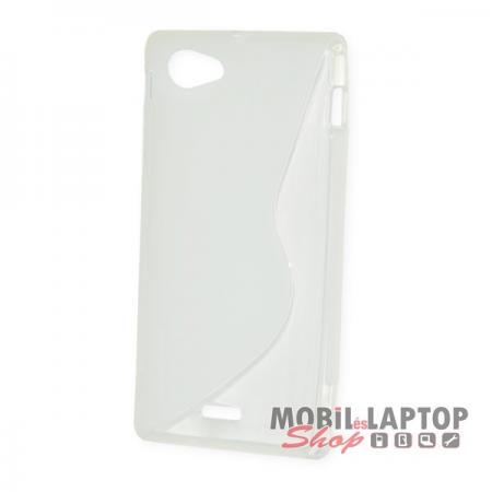 Szilikon tok Sony ST26I Xperia J fehér / átlátszó