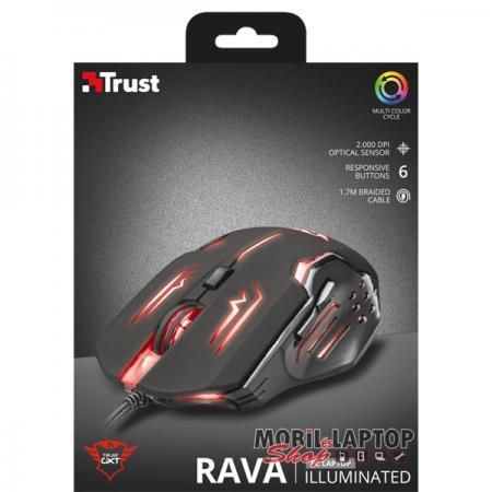 Trust GXT 108 Rava Illuminated USB gamer fekete egér
