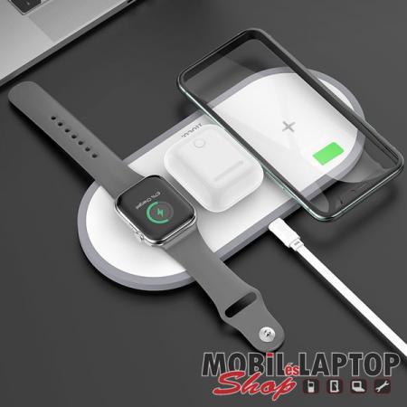 Univerzális 3in1 iWatch + Airpods + telefon wireless töltő 10W gyorstöltés fehér hoco. CW24