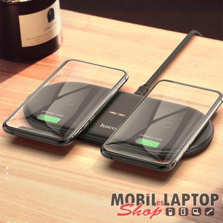 Univerzális dual wireless töltő 2x10W USB Type-C kábellel gyorstöltés támogatás fekete hoco. CW23