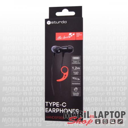 Univerzális sport headset USB Type-C csatlakozóval fekete STURDO Pro Sport