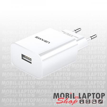 USAMS T18 univerzális hálózati töltő USB adapter 2.1A fehér